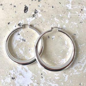 Zara Giant Metal Minimal Hoops Earrings